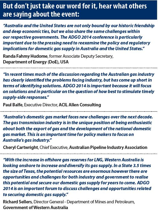 Australian Domestic Gas Outlook conference in Sydney 2014 - testimonials